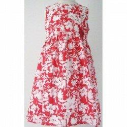 Klänning med blommor vit/röd