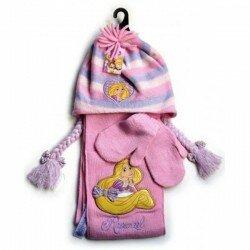 Disney Princess Rapunzel set mössa vantar halsduk rosa 1-3 å