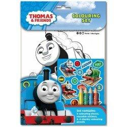 Tåget Thomas pyssel,målarblad med pennor, klistermärken